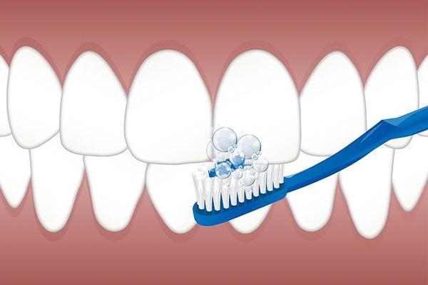 歯みがき剤をつけて歯ブラシでみがく口の中